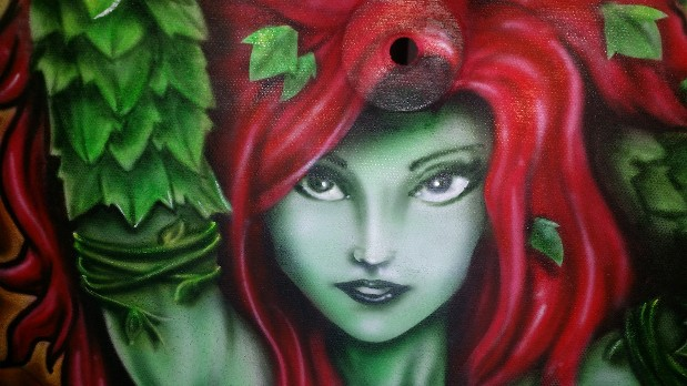 custom airbrush art on hoodliner - poison ivy