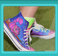airbrush sneakers for Bat Mitzvah Alice in Wonderland theme